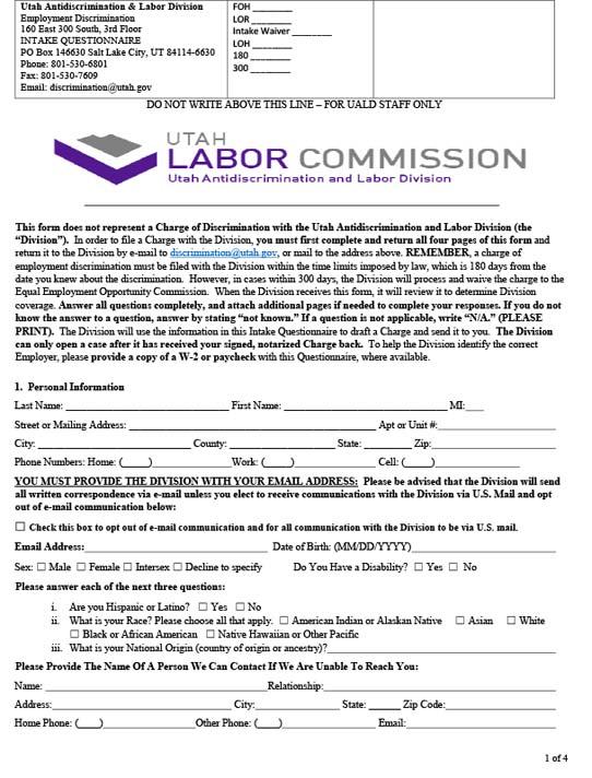 Employment Discrimination Questionnaire