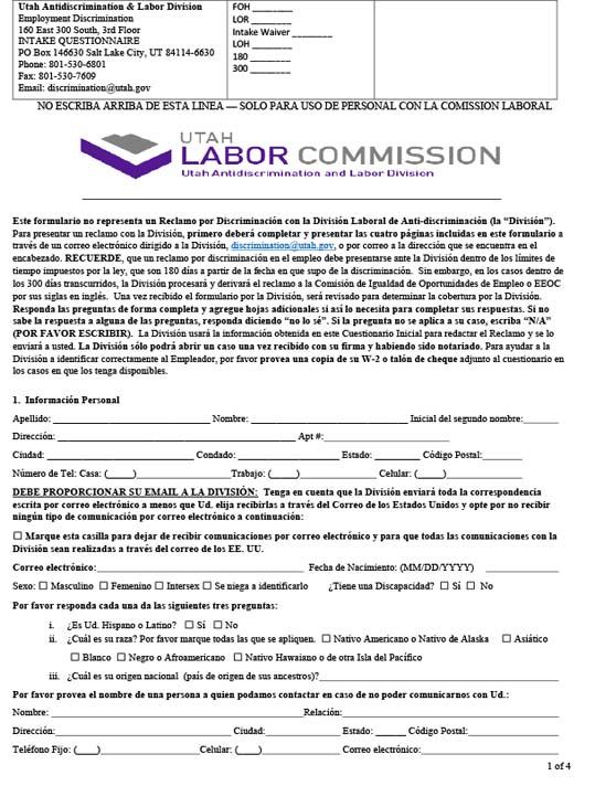 Employment Discrimination Questionnaire (Spanish)