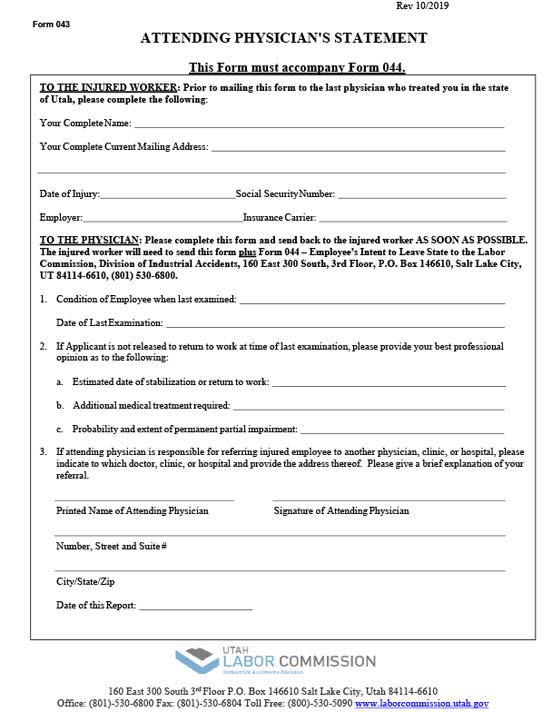 Form 043 - Attending Physician's Statement