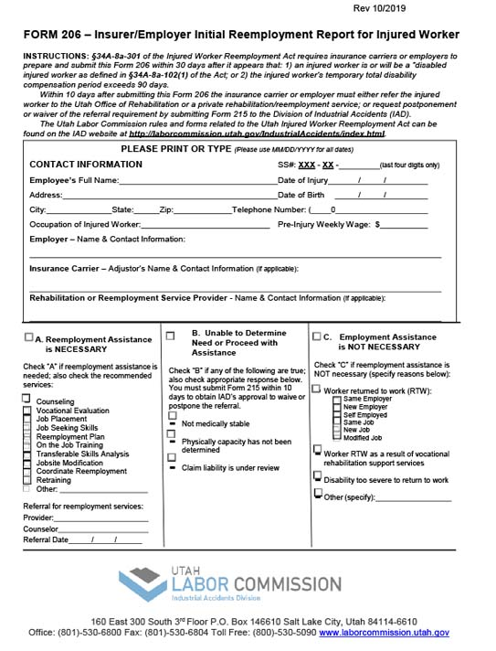 Form 206 - Insurer/Employer Initial Reemployment Report for Injured Worker