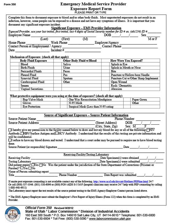 Form 350 - Emergency Medical Service Provider Exposure Report Form