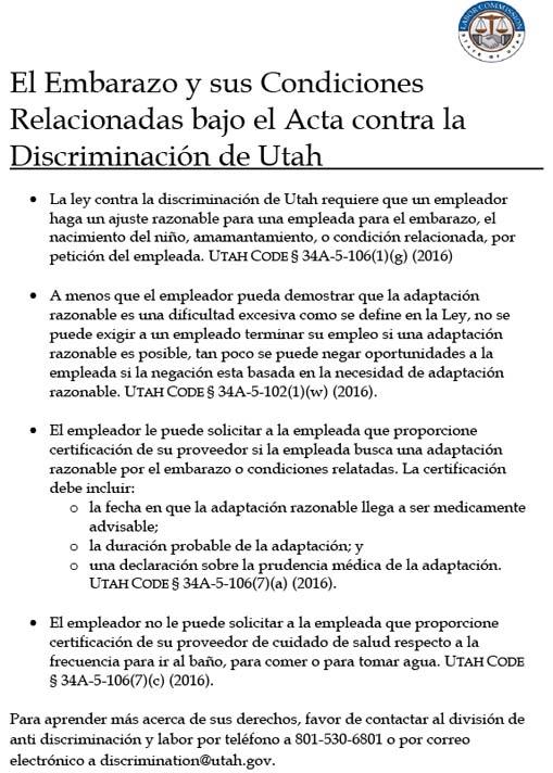 El Embarazo y sus Condiciones Relacionadas bajo el Acta contra la Discriminación de Utah (Pregnancy and Related Conitions Poster Spanish)