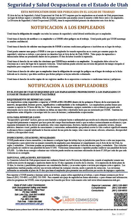 Seguridad y Salud Ocupacional en el Estado de Utah Poster (Utah Occupational Safety and Health Poster Spanish)