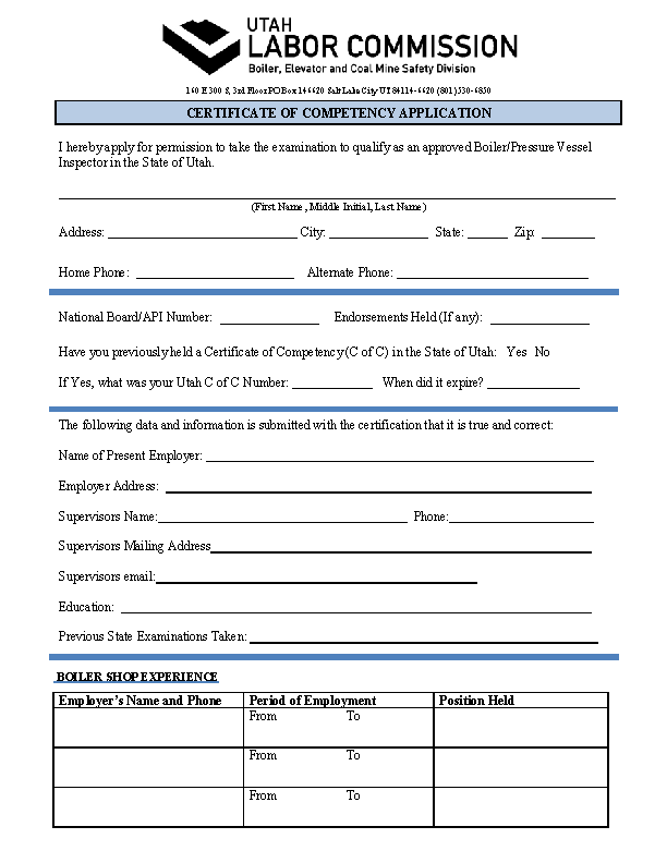 Certificate of Competency Application
